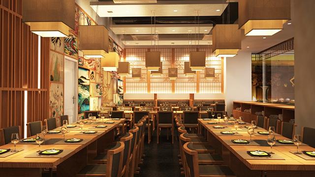 Đèn trang trí nhà hàng phong cách Nhật Bản chuộng các mẫu truyền thống dân tộc, với thiết kế đơn giản, chất liệu mộc mạc giản dị.
